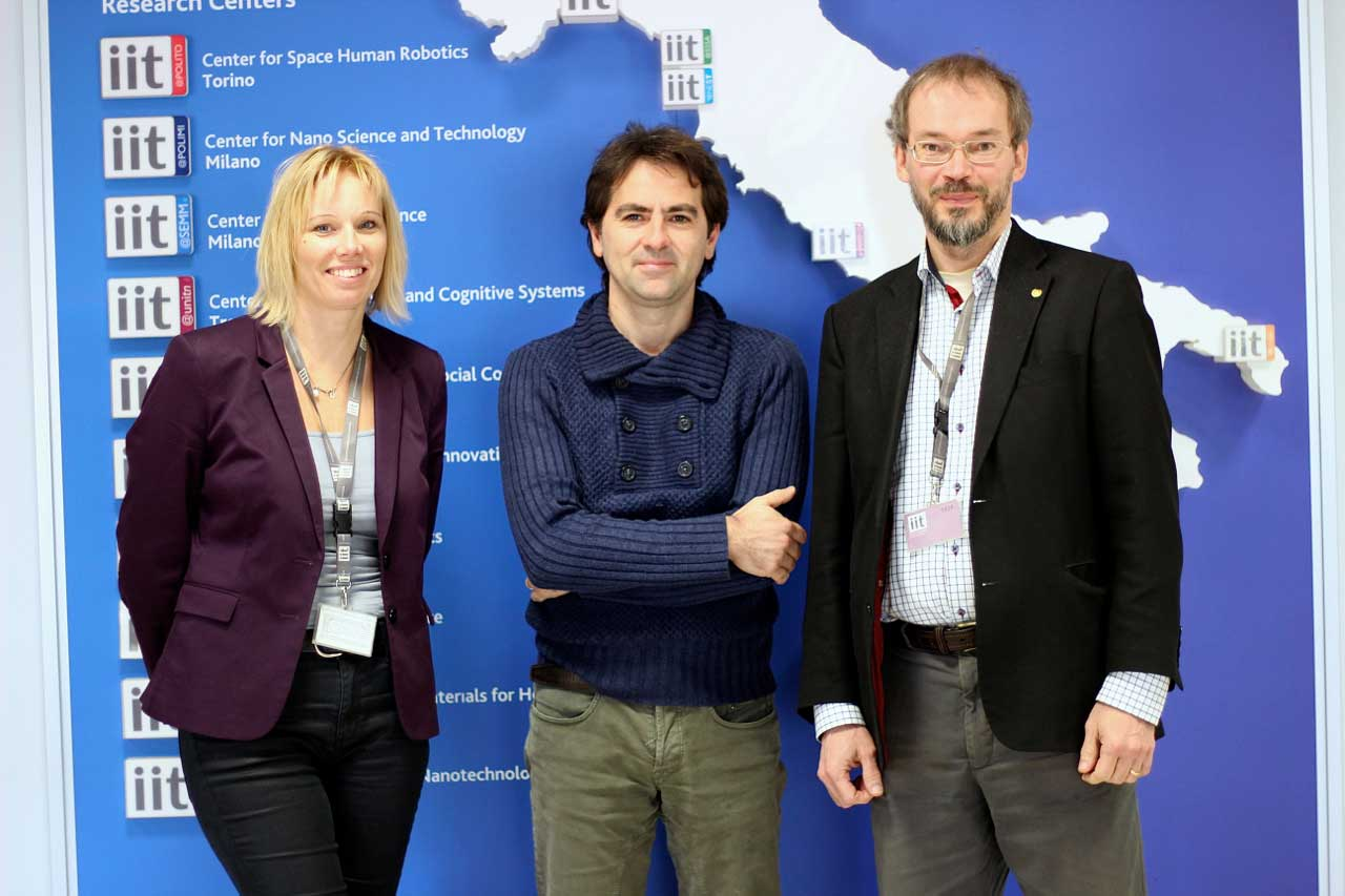 Helena Theander, Vittorio Pellegrini and Jari Kinaret at the IIT
