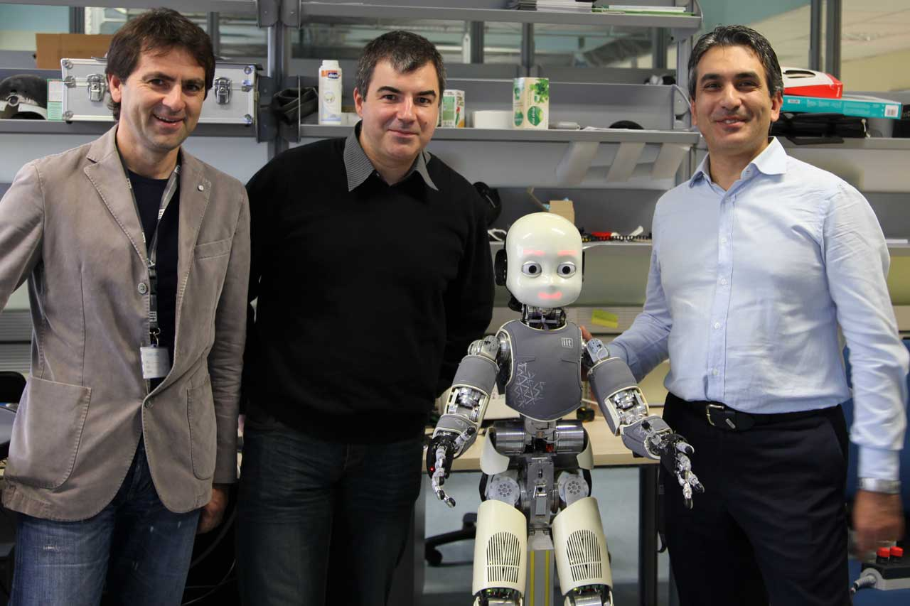 Kostya Novoselov at iCub facility at IIT with Vittorio Pellegrini and Giorgio Metta